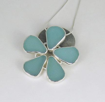 515. Aqua Sea Glass Flower Pendant