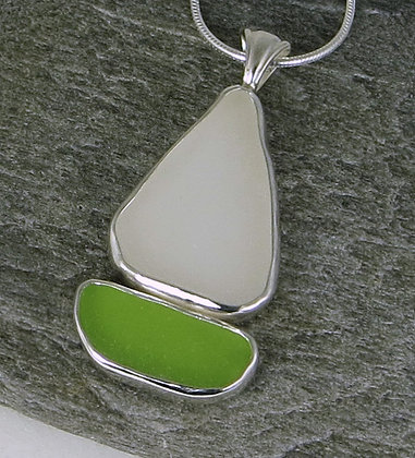 525. Lime and White Sea Glass Sailboat