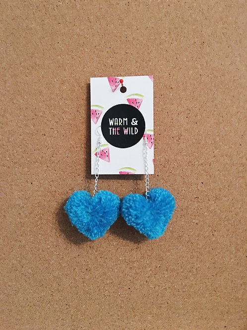 Love Heart Pom Pom Earrings - Bright Blue