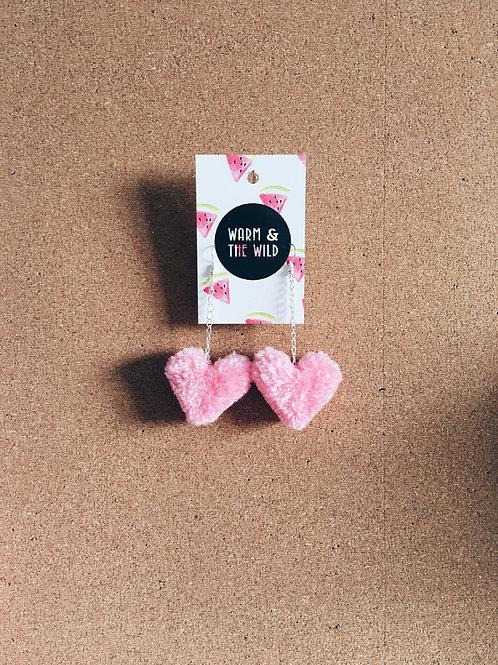 Love Heart Pom Pom Earrings - Baby Pink