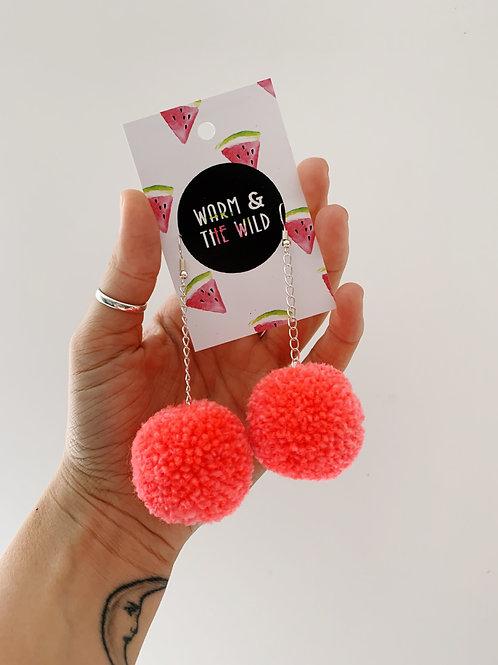 Neon Coral Pom Pom Earrings