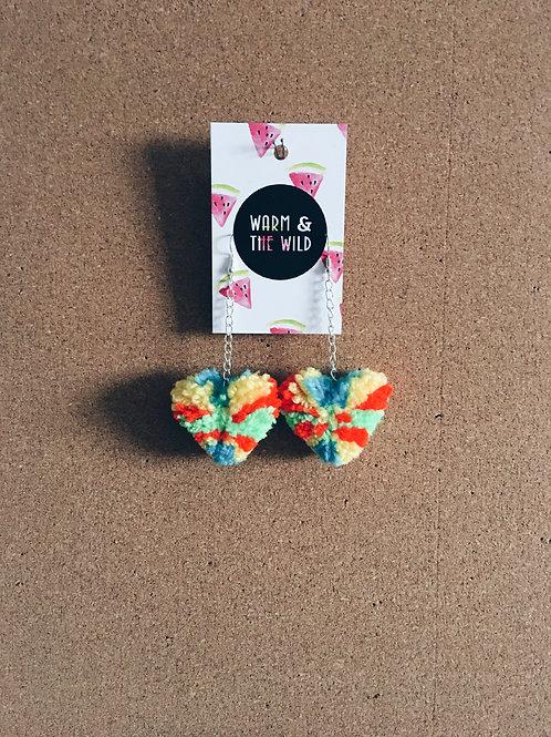 Love Heart Piñata Pom-pom Earrings