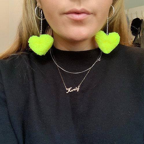 Love Heart Pom Pom Earrings - Neon Yellow
