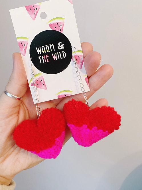 Two Tone Love Heart Pom Pom Earrings