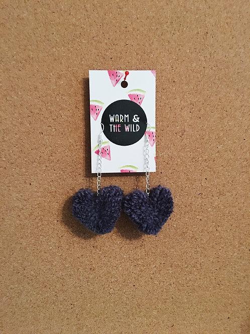Love Heart Pom Pom Earrings - Dark Denim
