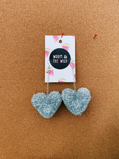 Love Heart Pom Pom Earrings - Grey