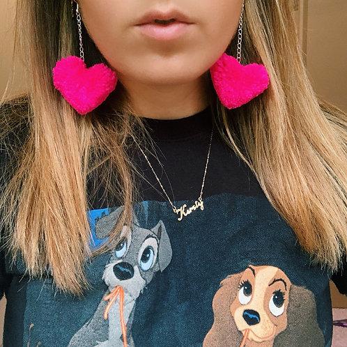 Love Heart Pom Pom Earrings -Bright Pink