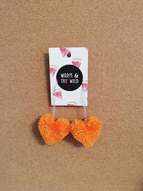 Love Heart Pom Pom Earrings - Orange