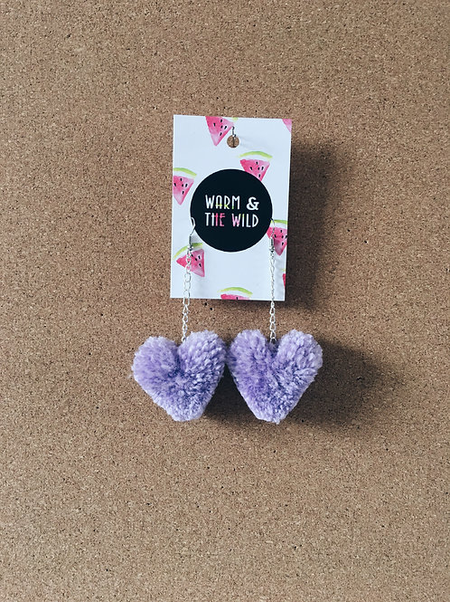 Lilac Love Heart Pom Pom Earrings
