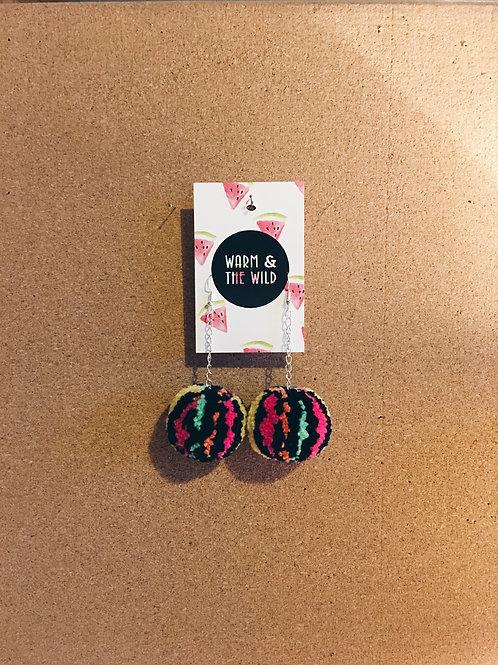 Black Multi Colour Pom Pom Earrings