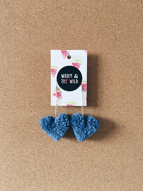 Denim Blue Heart Pom Earrings