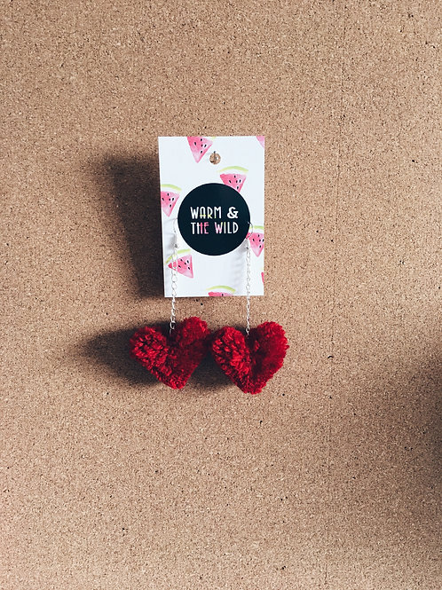 Love Heart Pom Pom Earrings
