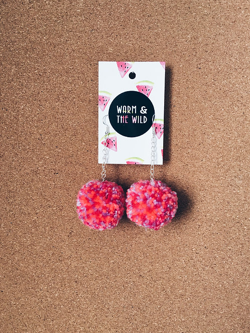 Bright Orange and Pink Mix Pom Earrings