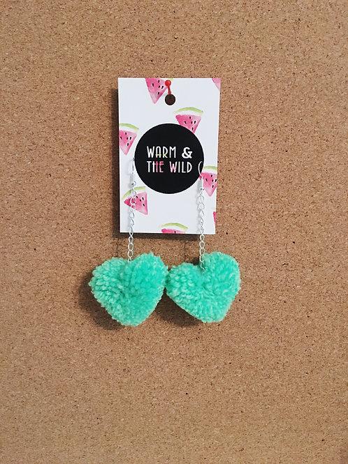 Love Heart Pom Pom Earrings - Neon Green
