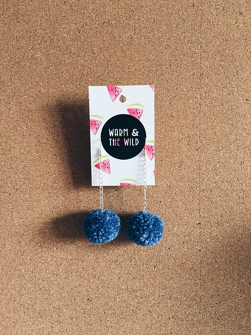 Denim Blue Pom-pom Earrings