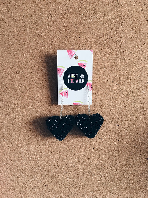 Black Sparkly Love Heart Pom Earrings