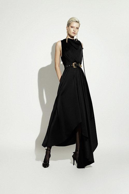 Vestido Midi Asimétrico Negro