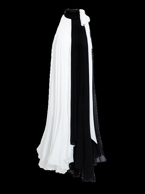 Vestido Midi Plisado Bicolor