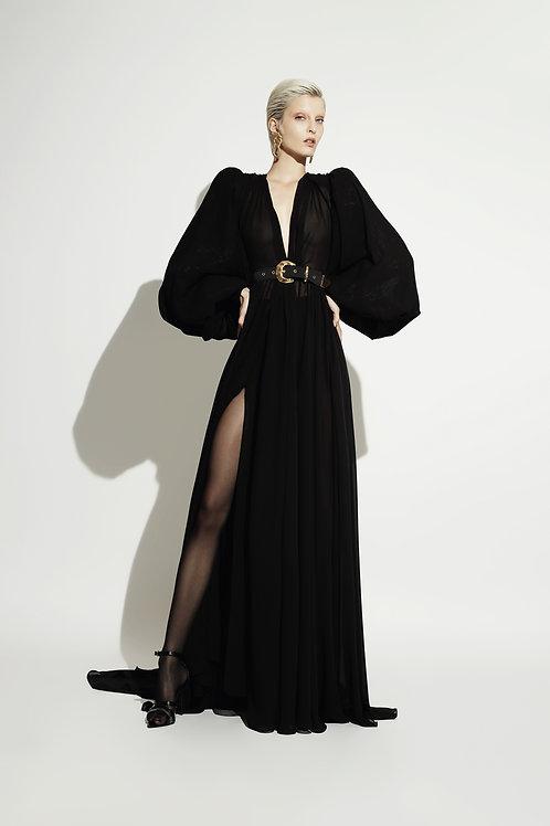 Vestido Largo Transparencia Negro