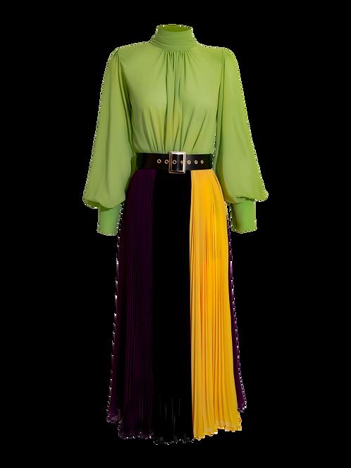 Vestido Midi Bloque Color