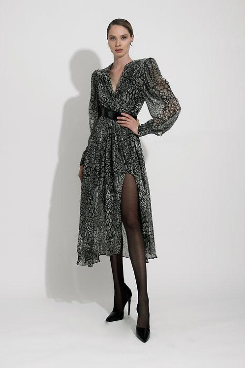 Vestido Midi Print Gris