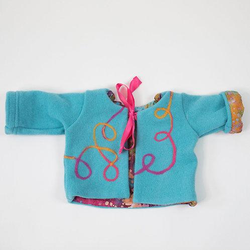 Wool Embellished Jacket -Turquoise
