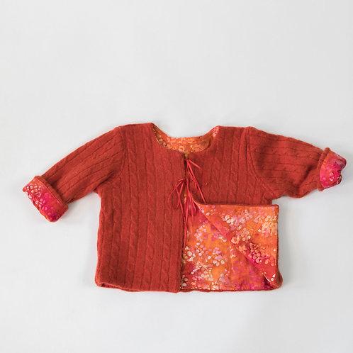 Soft Cashmere Cable Design Jacket -Harvest Orange