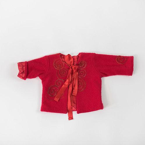 Soft Cashmere Embellished Jacket - Red