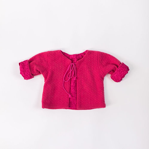 Soft Cashmere Cable Design Jacket - Fuscia