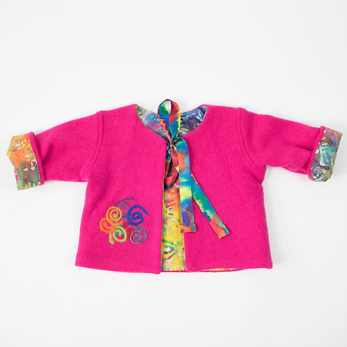 Soft Cashmere Embellished Jacket - Fuschia