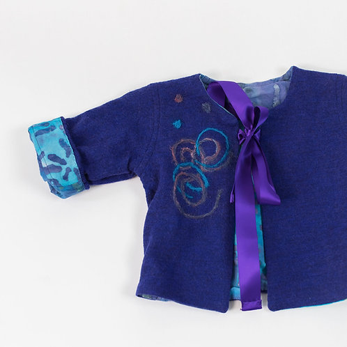 Soft Cashmere Embellished Jacket - Purple