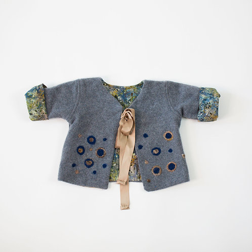 Soft Cashmere Embellished Jacket - Grey