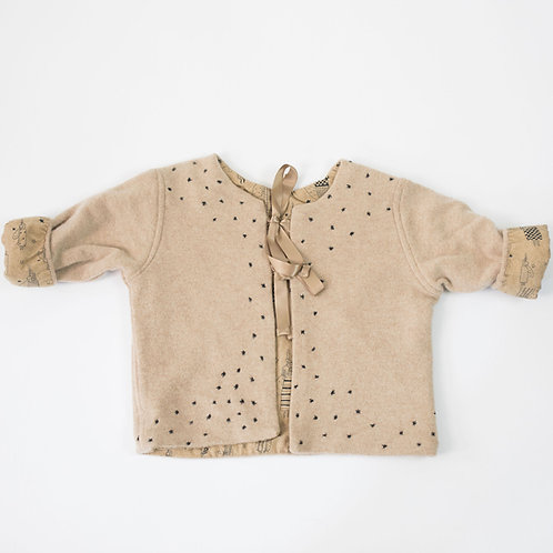 Soft Cashmere Jacket -Beige with Stars