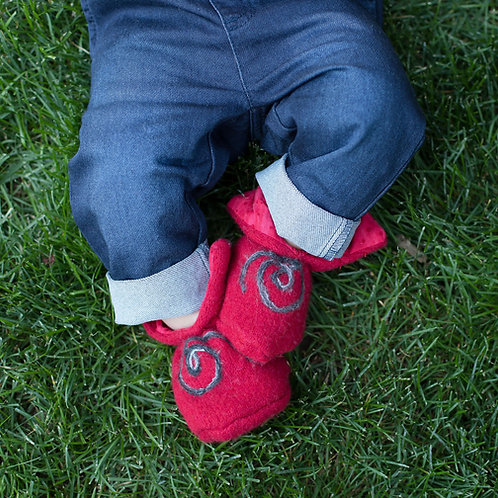 Soft Wool Booties - Red Lining