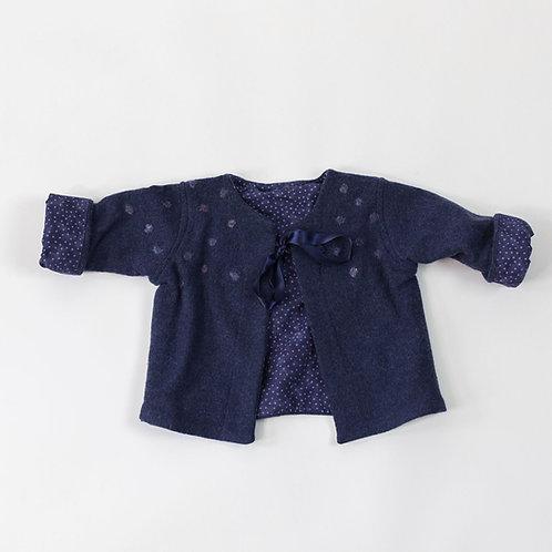 Soft Cashmere Embellished Jacket - Midnight Blue