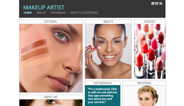 Portfolios website templates – Makeup Artist
