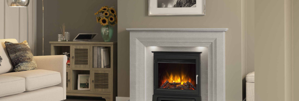 """Elgin & Hall 22"""" Chollerton Cast Stove Front Electric Fire"""
