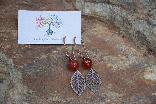 Carnelian & Leaf Earings