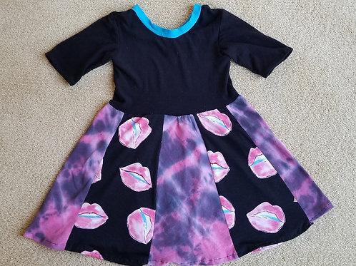 Upcycle Tie Dye & Lips Dress