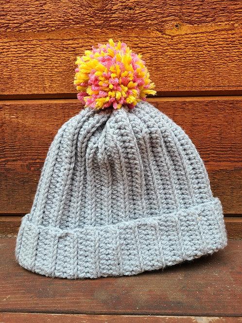 Gray Ribbed Hat