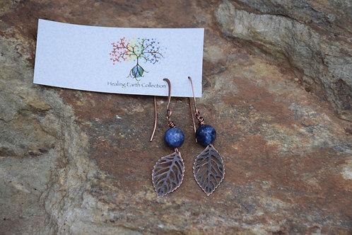 Lapiz Lazuli & Leaf Earings