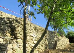 le mur de soutènement reconstruit...
