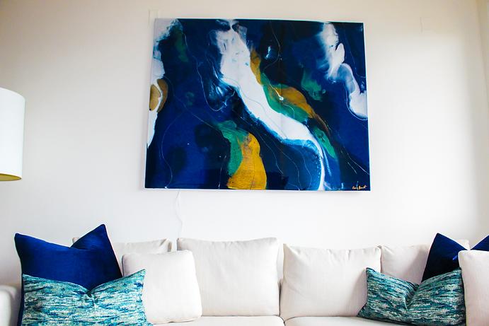 Resin art in designer living room.