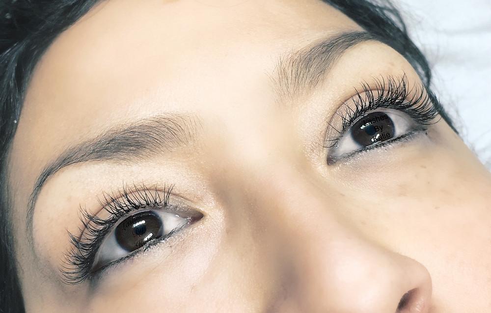Eyelash extensions, beautiful lashes with eyeliner