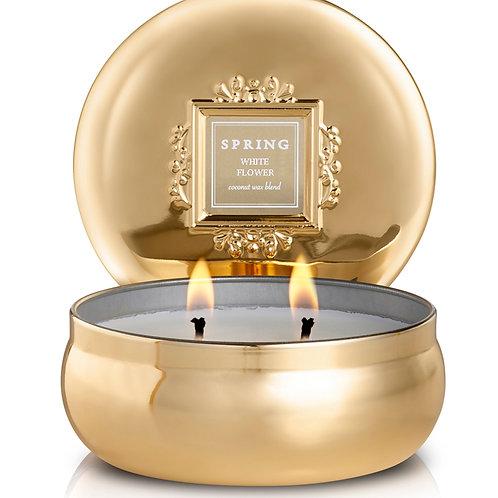נר בישום תערובת שעוות קוקוס WHITE FLOWER - בפחית זהב 240 גרם