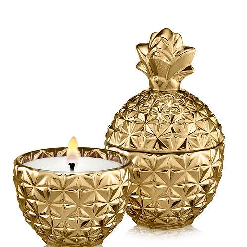 נר בישום שעוות קוקוס WHITE FLOWER - אננס זהב ביינוני