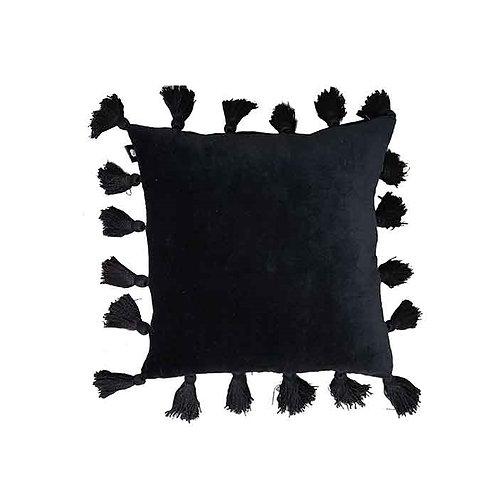כרית פונפונים שחורה
