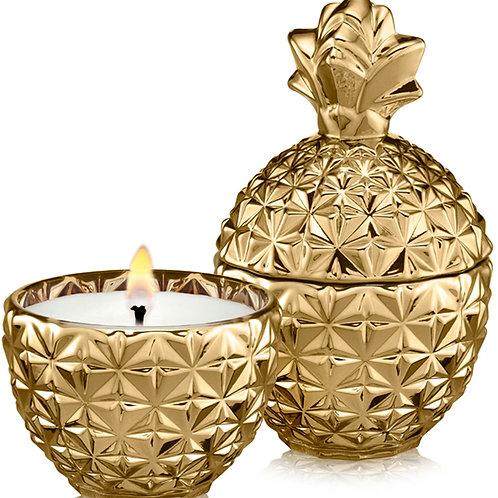 נר בישום שעוות קוקוס WHITE FLOWER - אננס זהב ענק