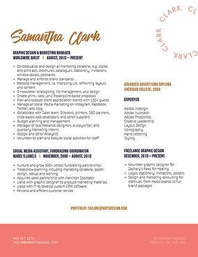Resume design Samantha Clark graphic designer in Toronto