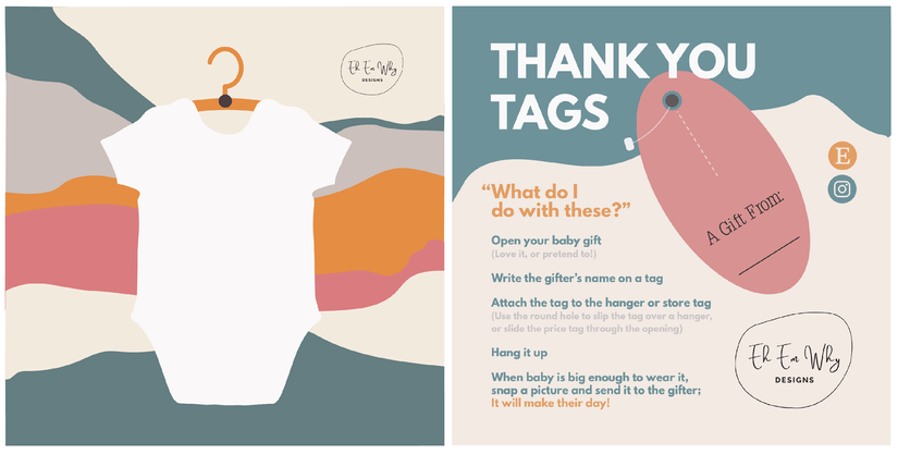 """Thank you tags - front and back 5x5"""" card"""